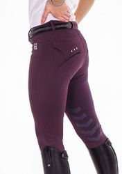 alps grey and black silicone knee patch ladies breeches knitted fabric with back pockets