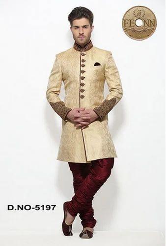 e695eb32bd Beige Jamawar Men Wedding Wear Indo Western Sherwani - Fashion Icon ...