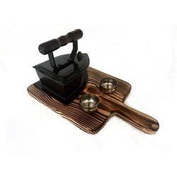 Teflon Iron with Pinewood Platter & Dip Bowls