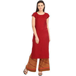 Cottinfab Women's Self Printed Kurta With Contrast Palazzo