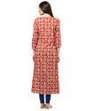 Women Beige Ethnic Motifs Embroidered A-Line Cotton Slub Kurta