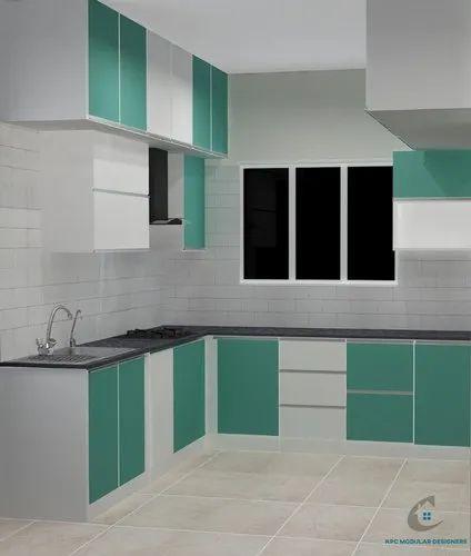 Wooden L Shape Blue Color Modular Kitchen, Warranty: 10-15