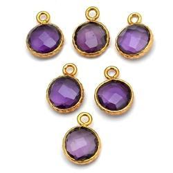 Amethyst Textured Bezel Gemstone Connector