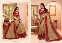 Stylish Cream and Red Color Designer Lycra Saree