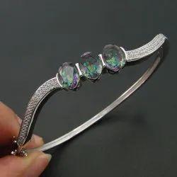 Cubic Zirconia CZ Bangle 925 Sterling Silver Rainbow Mystic Topaz Pave Bangle Bracelet