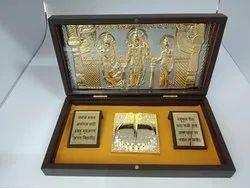Divinity Ram Darbar Gold Plated Photo Frame Box