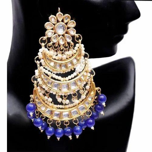 Blue Color Kundan Earring Set Indian Bollywood Designer Party wear Jewelry.Ea e914