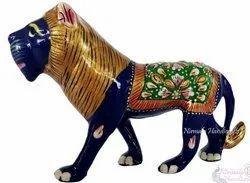 Metal Meenakari Lion Statue Enamel Work Figurine