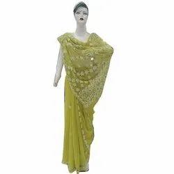 Party Wear Ladies Chikankari Georgette Saree, 6.25 m(with blouse piece)