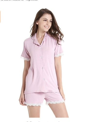Women Short Sleeve Pajama Set Knit Sleepwear With Shorts Button Down  Nightwear With Lace 534629c08