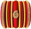 Red And Golden Handmade Silk Thread Bangle Set