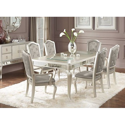 Swell Silver Leaf 6 Seater Dining Table Caraccident5 Cool Chair Designs And Ideas Caraccident5Info