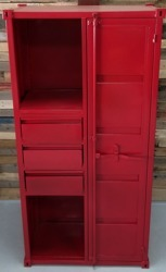 Red Container Industrial Metal Almirah with 3 Drawers