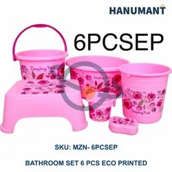 Multicolor Premium Plastic Bathroom Eco Printed Set 6 Pcs, For Household, Size: Varies From Item To Item