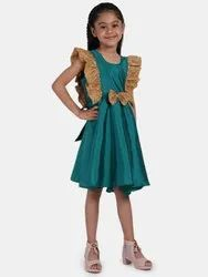 BownBee Sequin Frill Silk Party Frock- Green, Size: 6 Months to 7 Years