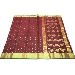 Party Wear Chanderi Border Pure Silk Sarees, With Blouse Piece, 6.3 mtr