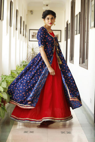 6174e6c07 Ladies Double Layer Blue And Red Party Wear Long Kurti