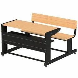 Pragati Systems Wooden School Desk with Sheet-Metal Structure