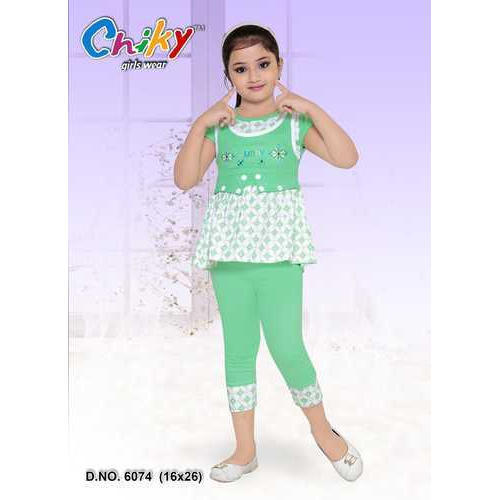 1c004abc99316 Kids Cotton Green Capri