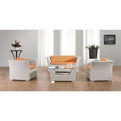 White Rattan Sofa Set