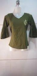 Designer Cotton Dark Green Top