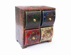 Hand Painted Wooden Chest Wood Rack With 4 Drawer To Store Spice Jewellery Multipurpose