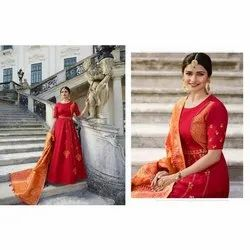 Red Cotton Ladies Indo Western Gown