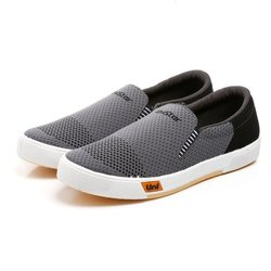 Mens Grey Black Sneaker Canvas Shoes