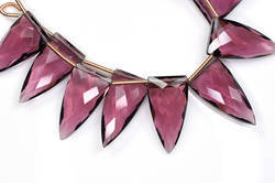 3 Pairs 11x23mm Rhodolite Garnet Quartz Microfaceted Elongated Faceted Pyramid Briolette Beads