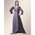 Rayon 3/4th Sleeves Purple Floor Length Printed Gown, Size: M-l