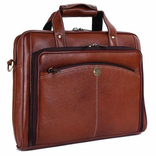 Plain Mens Brown Leather Messenger Bag