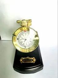 Nautical Style Table Top Folding White Dial Collectible Watch with Wooden Base Chritsmas Gift