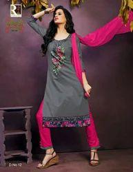 Party Wear Unstitched Cotton Dress Material