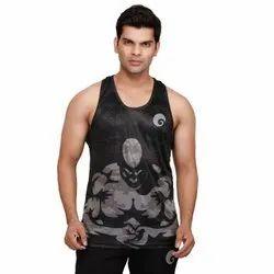 Black Printed Omtex Men Muscle Tanks