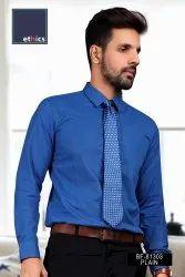 Solid Blue Mens Formal Uniform Shirt for Corporate Uniforms