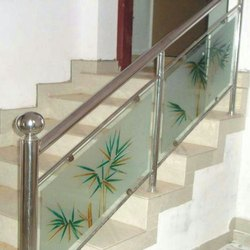 Glass Panel Stainless Steel Staircase Railing