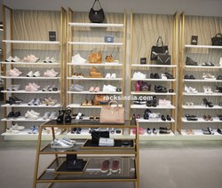 Golden Racks For Shoes And Handbags Shop