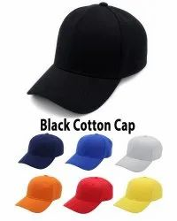 Black Cotton Baseball Cap, Sports Caps