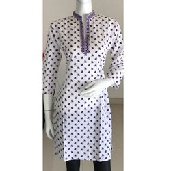 White Polka Dot Cotton Kurti