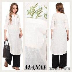 Embroidery Knee Long Ladies Manaf White Cotton Kurta