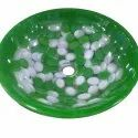 Table Top Green Glass Wash Basin, For Hotel