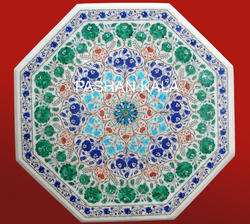 White Pietra Dura Marble Table Top