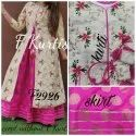 Floral Silk Embroidered Kurti With Skirt F Kurti