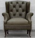 Vintage Leather Wing Chair and Arm Rest Chair