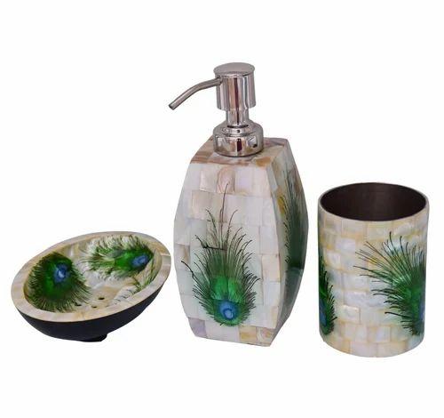 Mother Of Pearl Bathroom Set In Peacock Design