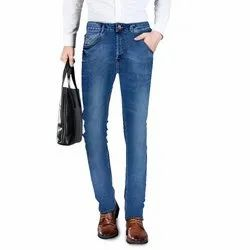 Lycra Faded Mens Jeans Fashion Mid Blue