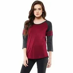 Black And Maroon Casual Wear Ladies Cotton T Shirts, Size: 32 -38