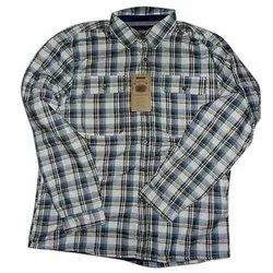 Khadi Collar Neck Mens Casual Check Shirt