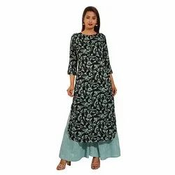 Round Neck Printed Cotton Kurti with Palazzo