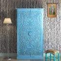 Ast International Blue Designer Wooden Almirah